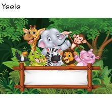 Yeele Birthday Backdrop Party Decor Prop Personalized Jungle Safari Photocall Baby Portrait Photographic Background Photo Studio