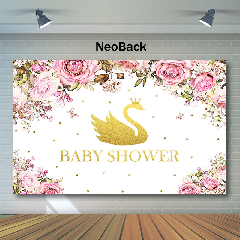 NeoBack Baby Shower Backdrop Golden Swan Crown Photography Backdrops Watercolor Flower Decor Background