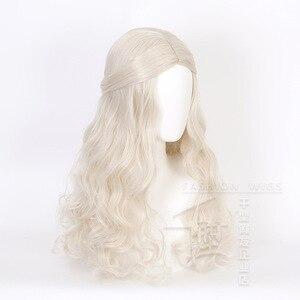 Image 5 - アリスでワンダーランド2白の女王コスかつらブロンド波状ロング人工毛耐熱性繊維ハロウィーンパーティー衣装かつら