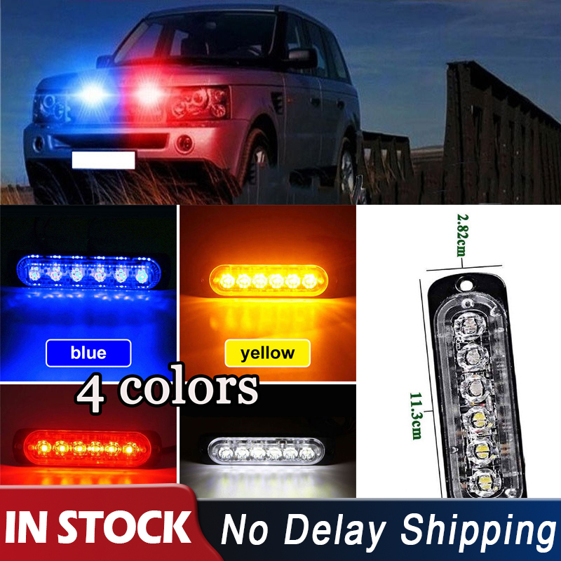 Car-Styling Yellow/Red/Blue/White 6 LED Car Truck Beacon Emergency Warning Hazard Light Grille Long Bright Light Bar(China)