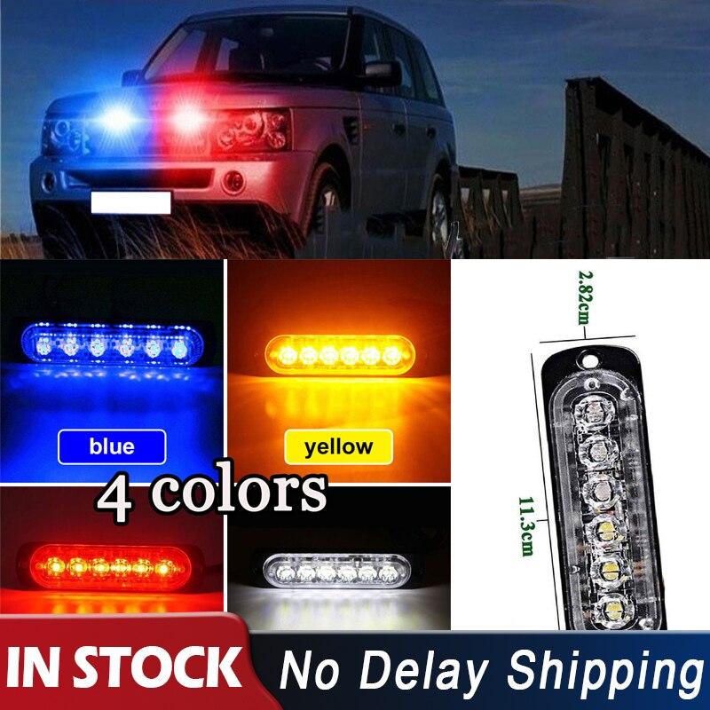 2pcs Strobe Light Amber//White 4 LED Car Truck Flash Warning DRL Bright Lamp Bar