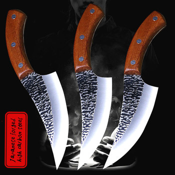 DEHONG  24.5cm hand forged by chef Tang, sliced kitchen knife, high carbon steel outdoor knife, butcher's knife + Leather Case pegasi hand forged all tang sharp bone picking knife high hardness chef sliced knife fish knife outdoor knife hunting knife