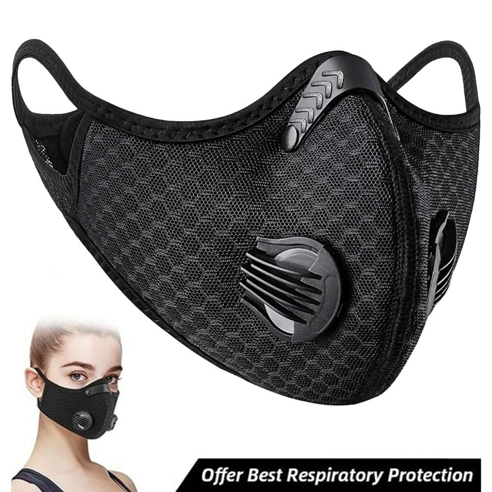 Face Mask Activated Carbon Valve PM2.5 Windproof Dust-proof Breathable Sport Mask Anti-Pollution Face Shield Protector Black