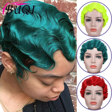 BUQI короткие кудрявые синтетические парики для черных женщин 1920s Ретро парик перстень Красный Розовый Золотой Зеленый Черный для Косплей Ве...