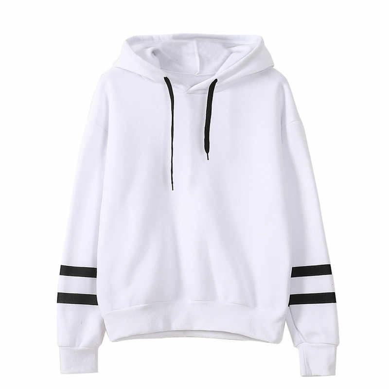 Mode Herbst Winter Frauen Sweatshirt mit Hut Kordelzug Lange Hülse Striped Splicing Hoodies Damen Mädchen Pullover