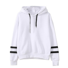 Fashion Autumn Winter Women Sweatshirt with Hat Drawstring Long Sleeve Striped Splicing Hoodies Ladies Girls Pullover