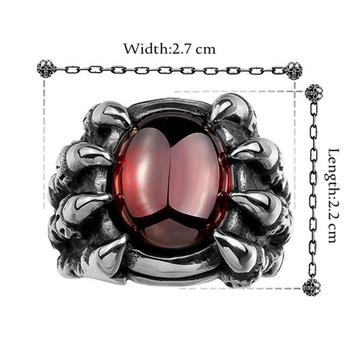 Men Hiphop Ring Retro Titanium Steel Black/Red Stone Rings for Women Men Gothic Fashion Jewelry Size 8-11 anillo hombre 5