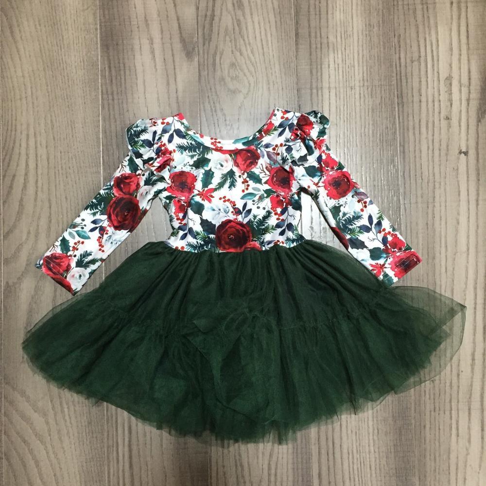 Girlymax Spring/Winter Baby Girls Cotton Chlidren Clothes Milk Silk Dark Green Floral Flower Tutu Twirl Dress Knee Length 1