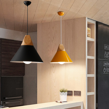 Pendant Lights Modern Wood Pendant Lamp Nordic Style For Cafe Restaurant Bedroom Kitchen Colorful Hanging Living Room Dining 4