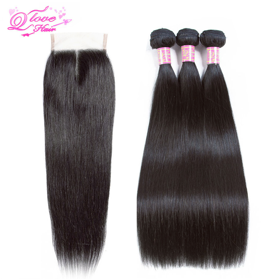 Queen Love Hair Bundles With Closure Brazilian Hair Weave Bundles Straight Hair Bundles With Closure Remy Hair Extension