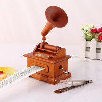 Wooden Musical Boxes DIY Paper Tape Hand Cranked Phonograph Music Box Wood Crafts Retro Birthday Gift Vintage Home Decoration