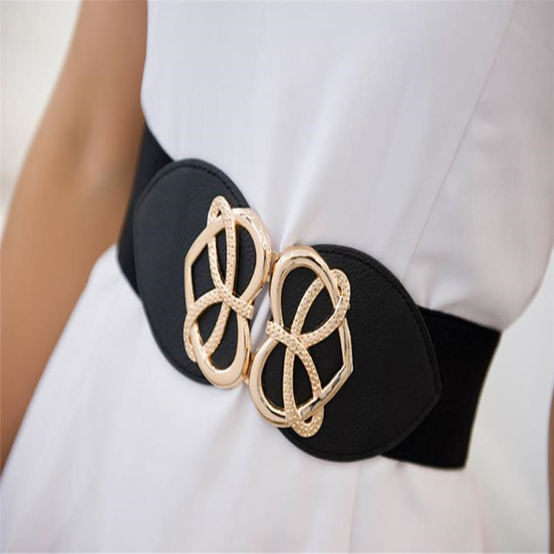 Women Stretch Elasticated Waist Belt Gold Buckle Wide Belt Love Heart Buckle Dress Decorative Waist Seal Waistband Femme