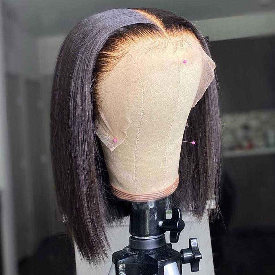 Brasileiro 13x4 bob perucas de cabelo humano pré arrancadas com o cabelo do bebê osso em linha reta curto bob perucas para mulher