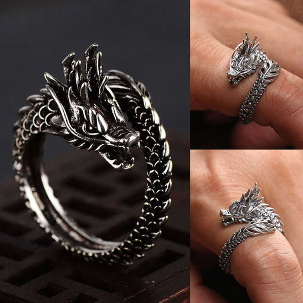 Design Retro Adjustable Silver Punk  Dragon Ring Men Women Chunky Copper Fashion Finger Opening Rings Head Ring Gothic Jewelry