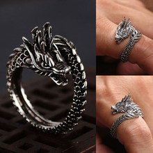 Design Retro Adjustable Silver Punk Dragon Ring Men Women Chunky Copper Fashion Finger Opening Rings Head Ring Gothic Jewelry(China)