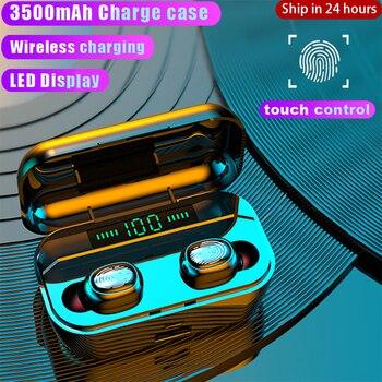 New 3500mAh Bluetooth Earphones Wireless Headphones Touch Control LED Display Wireless Charging Sport Waterproof Headset Earbuds