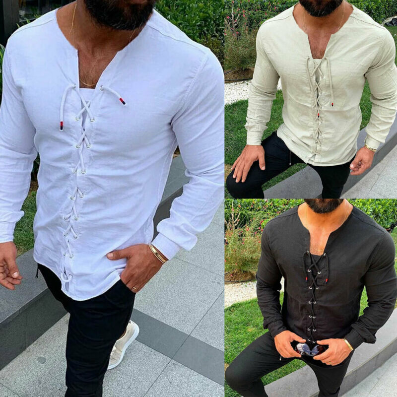 2020 Summer Long Sleeve Fitness T Shirt Men Fashion Drawstring O-Neck Collar Patchwork T-Shirt Solid Slim Fit Tshirt Men Tops