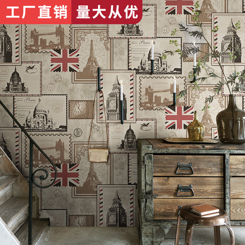 Casual Coffee Shop Restaurant Bar Background Wallpaper European Style Retro Nostalgic Stamp Yonago Flag Clock Tower England Wall