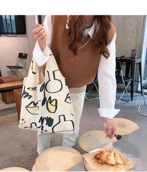 Japanese INS Beige Canvas Hobo Bag Cartoon Graffiti Pattern Half Moon Shoulder Bag Casual eco friendly Shopping Bag Girls Purse 5
