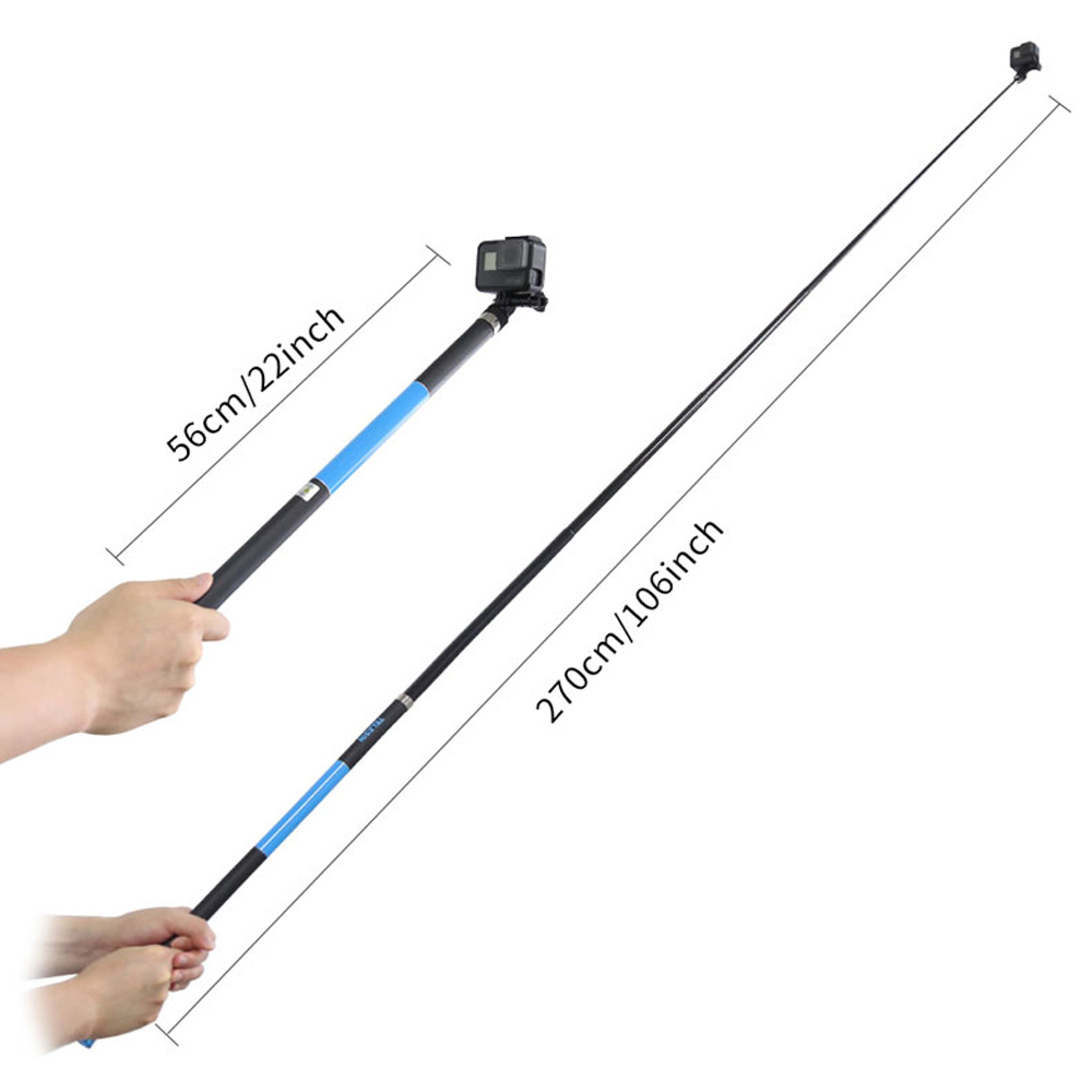 106 quot Long Carbon Fiber Handheld Selfie Stick Portable Extendable Pole Monopod for GoPro Hero 6 5 4 3 Xiaomi YI SJCAM Eken SOOCOO in Selfie Sticks from Consumer Electronics