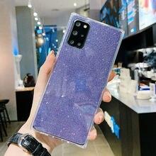 LOVECOM Square Glitter Phone Case For Samsung Galaxy S20 A51 A71 A50 A70 S10 S10e S9 Plus Soft TPU 2 In 1 Clear Phone Back Cover