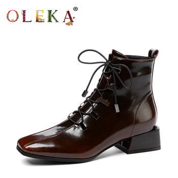 OLEKA Leather Mid-calf Winter Winter Boots Square Heel Rome Square Toe   Ladies Boots Leisure Style Motorcycle Boots  New  AS887 girls boots new kids winter shoes uovo brand flat heel leather mid calf national style eu26 39 chaussures fille enfants bottes