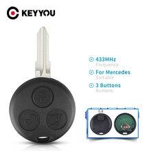 Keyyou fob para mercedes benz smart fortwo 450 forfour roadster cidade coupe 3 botões 433mhz chave remota automática