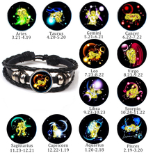Retro New 12 Constellation Gemini Sagittarius Libra Punk Bracelet Leather Charm Men Women Girl Jewelry Gifts