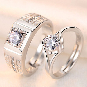 2Pcs/Pair Silver Plated Classic Men Women Resizeable Couple Wedding Engagement ring Cystal Adjustable Valentine Gift Wholesale