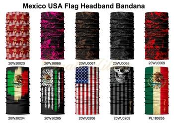 Seamless Bandana Mask Scarf Tube Buff Neck Gaiter Hunting Facemask Balaclava Headwear Army Military tour de cou Mexico USA Flag 5