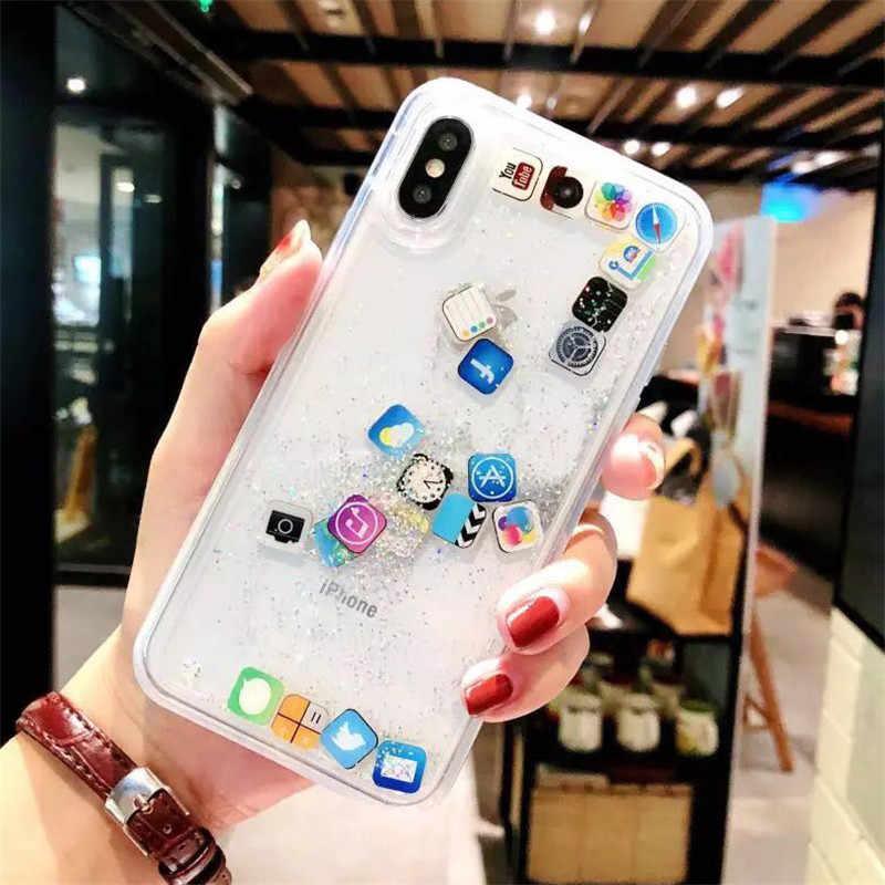 Cao Cấp Năng Động Chất Lỏng QuickSand Mềm Cover Cho iPhone 6 6S 7 8 Plus X XR XS Max Điện Thoại trường Hợp Ứng Dụng Capa IPONE 8 Plus Vỏ