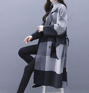 Image 3 - Contrast plaid woolen coat female 2020 autumn winter warm windproof long overcoat plus size trench coat suit collar casaco top