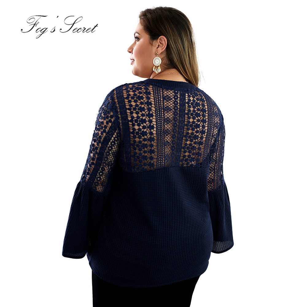 Women knitting sweaters Lace Hollow out pullovers loose plus size For Female 2019 autumn Winter blusa de frio feminina in Cardigans from Women 39 s Clothing
