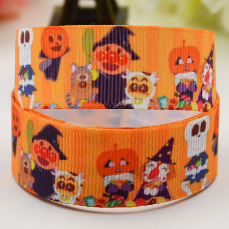 <font><b>7/8</b></font>'' (22mm) <font><b>Halloween</b></font> Candy Cartoon Character printed <font><b>Grosgrain</b></font> <font><b>Ribbon</b></font> party decoration satin <font><b>ribbons</b></font> X-01642 OEM 10 Yards image