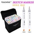 Маркеры TouchFive  30/40/60/80 цветов  набор маркеров для живописи на масляной и спиртовой основе  лучшие маркеры для рисования манги с двойной головк...