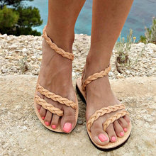 2020 Bohemian Women's Sandals Flat Beach Casual Shoes Knot Rope Sandals Vacation Open Toe Woman Summer Plus Size Fashion Sandals summer style flat shoes plus size women s fashion bohemian bandage cotton sandals clip toe sandals shoes