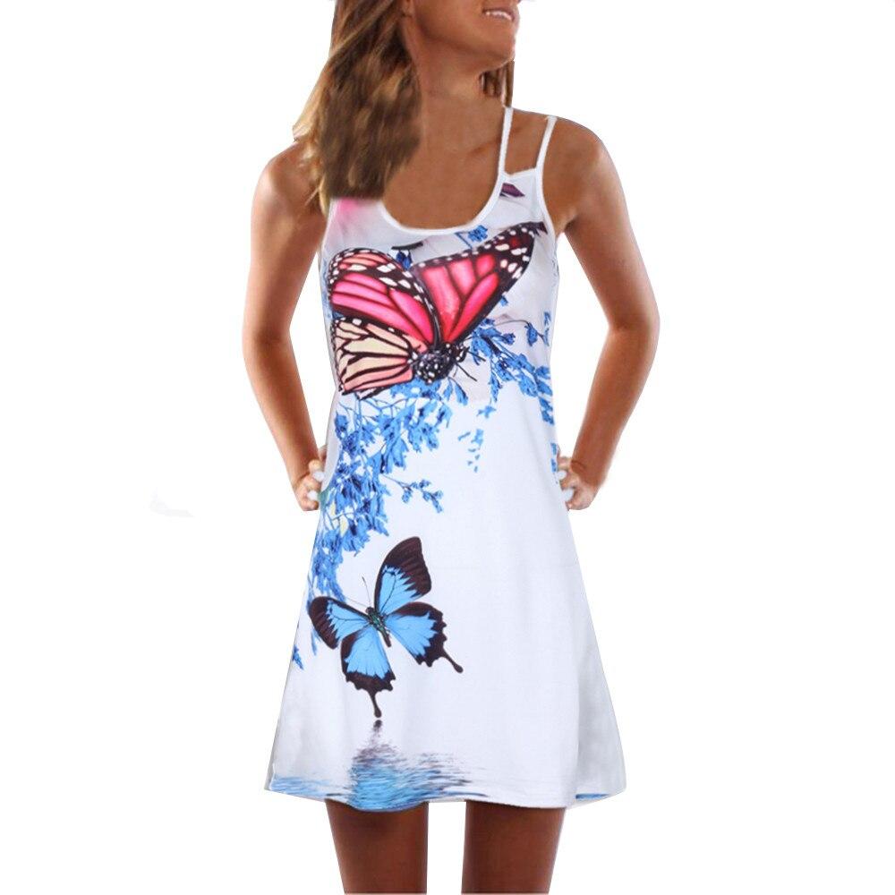 Women Summer Dress Vintage Sleeveless D Floral Print Tank Short Mini Dress Flamingos Butterfly Boho