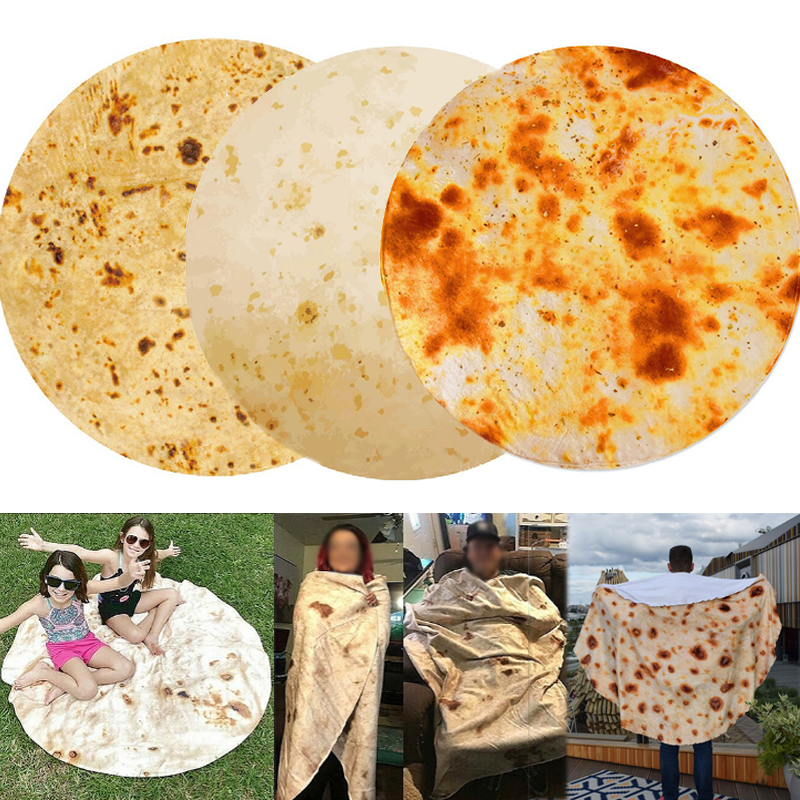 Popular For Bed High Quality 1PC Plush Bedspreads Corn Tortilla Bedding Fleece Flannel Blanket Mexican Burrito Blanket Funny 3D