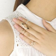 Charming Jewelery Punk Style Geometric Arrows Triangle Shaped Joint Ring Sets Gold color Silver color RING(China)