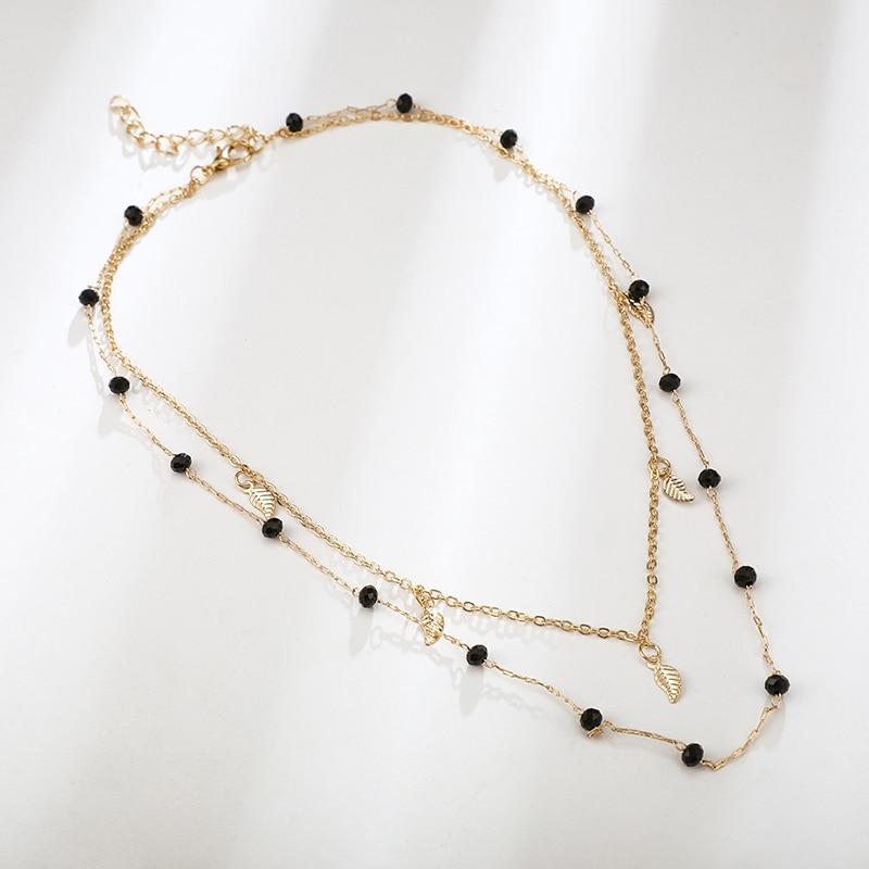 Tocona Bohemian Gold Leaves Neckalce for Women Charms Fashion Beaded Chain Chockers Minimalist Jewelry Wholeslae 8384