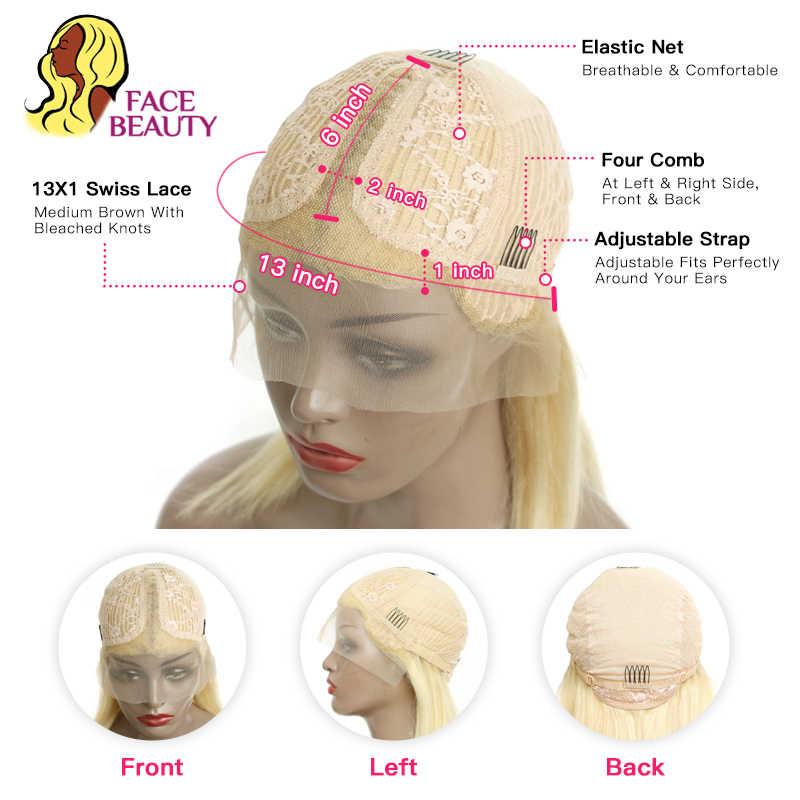 13X6 Bob Pruik 1B 613 Ombre Honey Blonde Straight Braziliaanse Kant Voor Menselijk Haar Pruik Pre Geplukt Korte remy Pruik Voor Zwarte Vrouwen