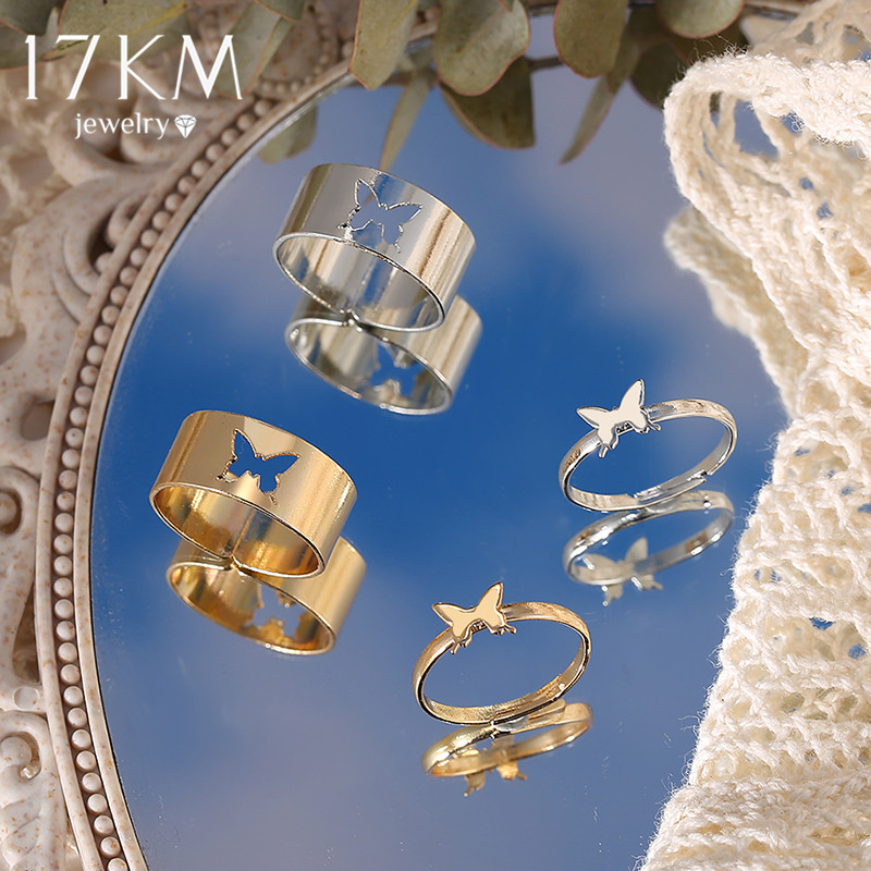 17KM Trendy Gold Butterfly Rings For Women Men Lover Couple Rings Set Friendship Engagement Wedding Open Rings 2021 Jewelry