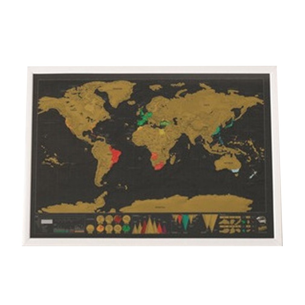 Scratch Map World Map Semi-manual Hanging Gilt Sheet Fashion Creative Complex Geographical Detail Black Background 2019 New