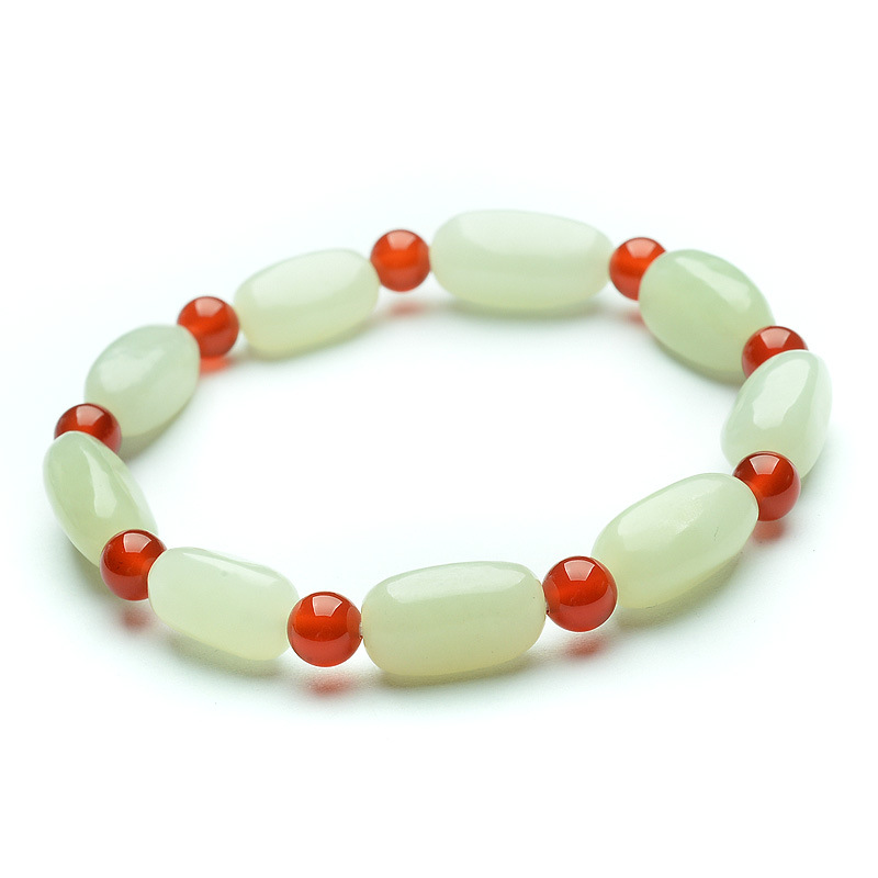 Women White Bracelets HETIAN Jade Seed Bracelet Men Women Jade Bracelet Gift for Female Fine Jade Jewerly