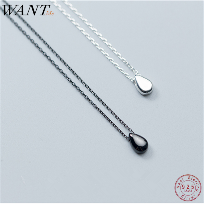 WANTME Real 100% 925 Sterling Silver Minimalist Geometric Droplet Chain Pendant Necklace for Women Teen Jewelry Gift Accessories image