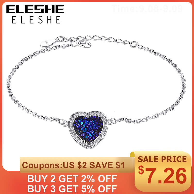 ELESHE 100% 925 Sterling Silver Heart Of The Sea Charm Bracelet for Women Fashion Jewelry Adjustable Chain Bracelet Wedding Gift