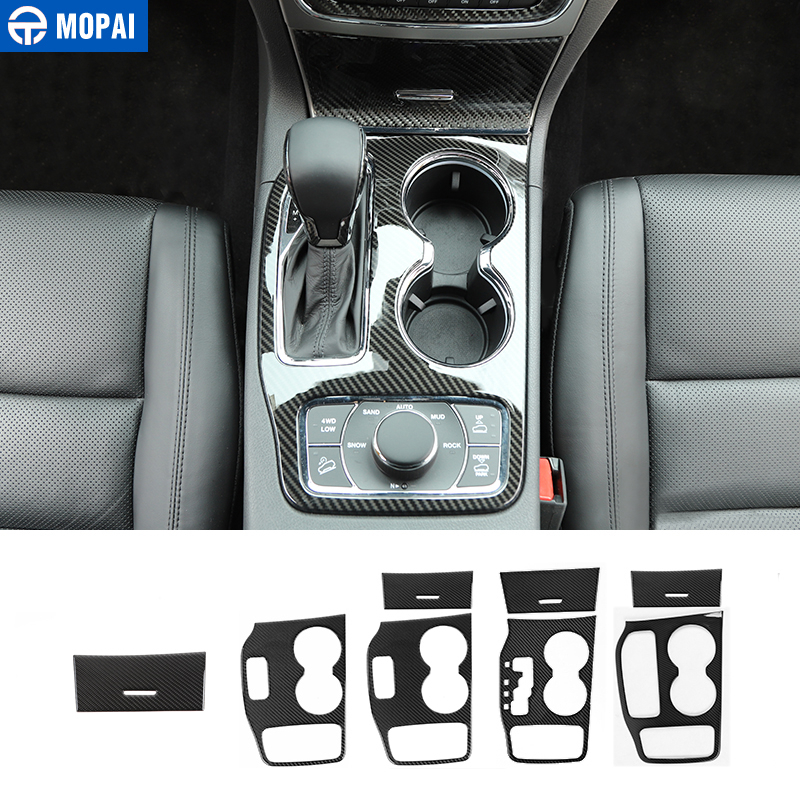 MOPAI Carbon Fiber For Car Gear Shift Panel Cup Holder Front Storage Box Decoration Cover For Jeep Grand Cherokee 2011+