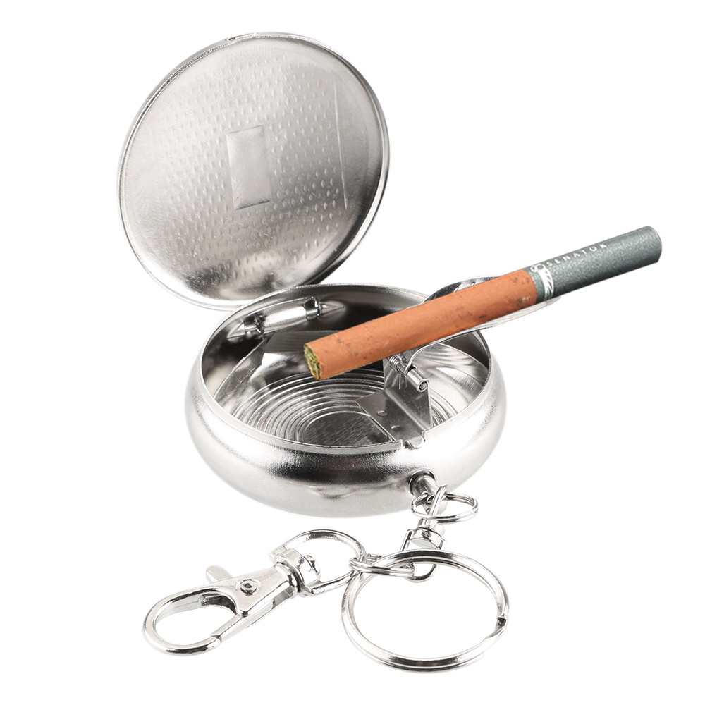 LEEPEE Vehicle Cigarette Ashtray Mini Stainless Steel Ashtray With Key Chain Portable Pocket Ashtray