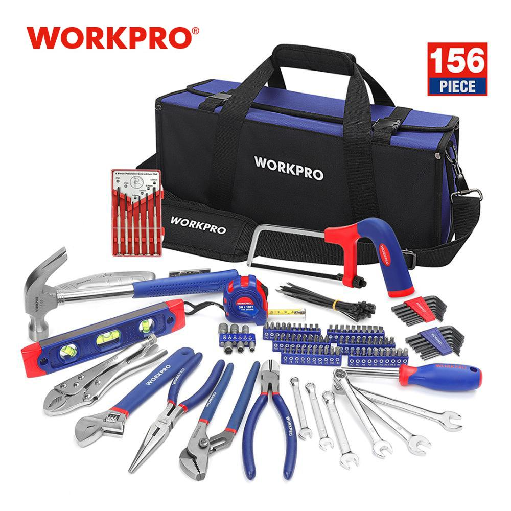 WORKPRO 156PC Home Repairing Tool Set Tool Kits with Tool Bag Screwdriver Hammer Pliers Wrench