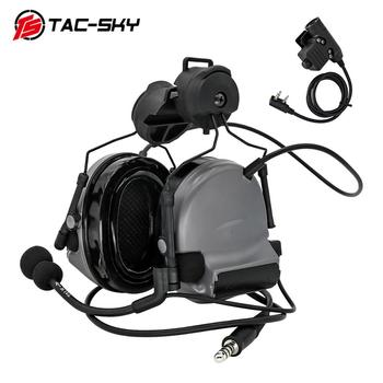 TAC-SKY COMTAC II helmet mounted version hunting headphones noise reduction military shooting headset +tactical PTT U94 PTT gray tactical comtac ii anti noise sound amplification electronic noise reduction shooting headphones and tactical ptt u94 ptt de